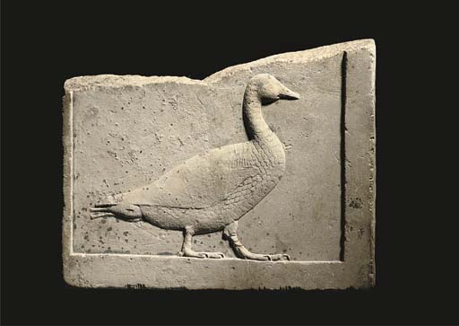 AN EGYPTIAN LIMESTONE SCULPTOR'S RELIEF MODEL OF A GOOSE