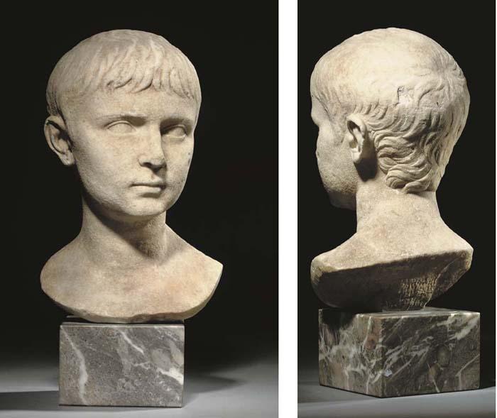 A ROMAN MARBLE BUST OF GAIUS OR LUCIUS CAESAR