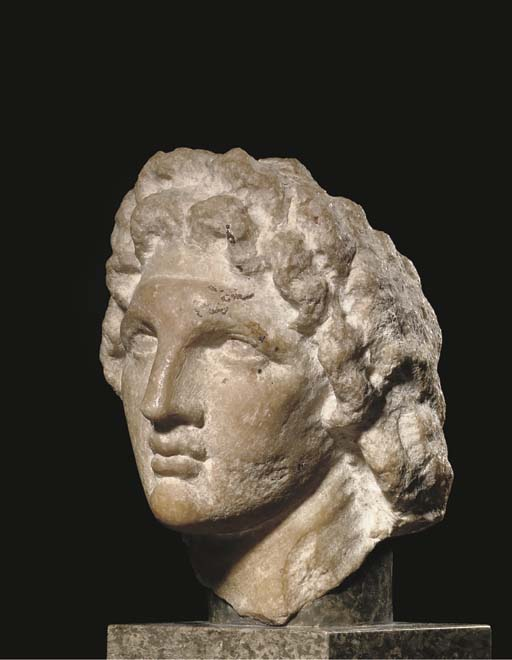 A HELLENISTIC PARIAN MARBLE PORTRAIT HEAD OF ALEXANDER THE GREAT