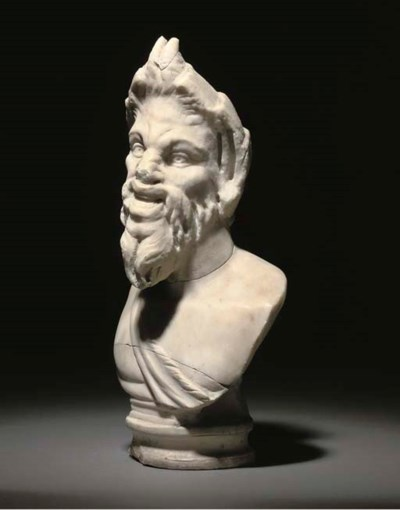 A ROMAN MARBLE BUST OF PAN