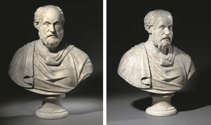 A ROMAN MARBLE HEAD PROBABLY OF A GREEK PHILOSOPHER