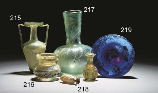 A ROMAN GREEN GLASS AMPHORISKO