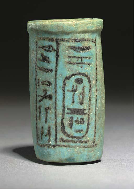 AN EGYPTIAN TURQUOISE GLAZED C
