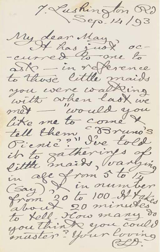 DODGSON, Charles Lutwidge ('Lewis Carroll'). Autograph letter signed ('Your loving  C.L.D.') to 'May' [Marion Miller], 7 Lushington Road [Eastbourne], 14 September 1893, one page, 8vo, on a bifolium (very slight discolourations).