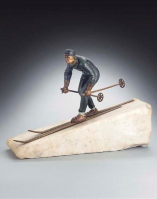 A COLD-PAINTED BRONZE FIGURE O