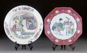 Two famille rose dishes, Yongzheng