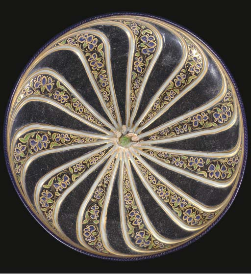 A Mughal enamelled and gilt cl