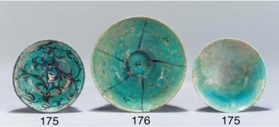 Two small Kashan turquoise gla