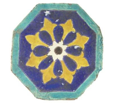 A Timurid pottery cuerda seca