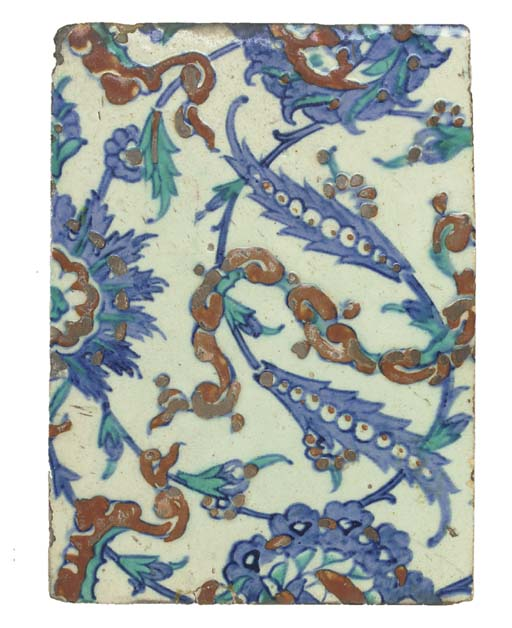 An Ottoman Iznik pottery tile, Turkey, mid 17th century