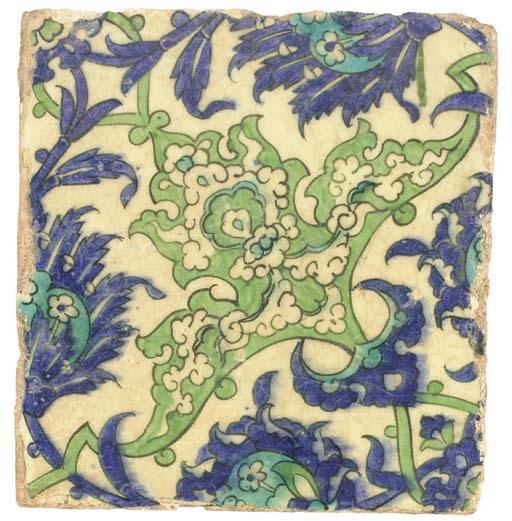Four damascus pottery tiles, s