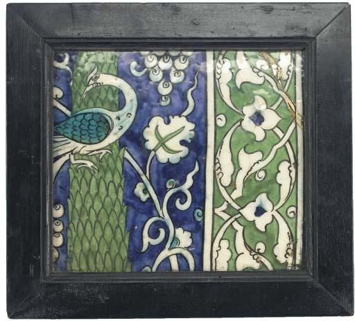 A Damascus square pottery tile