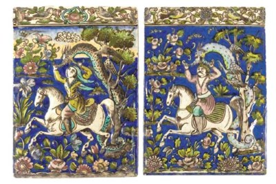 Two similar Qajar polychrome r
