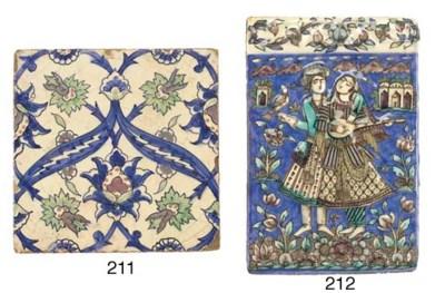 A Qajar pottery tile, 19th cen