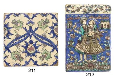 A Qajar moulded pottery tile,