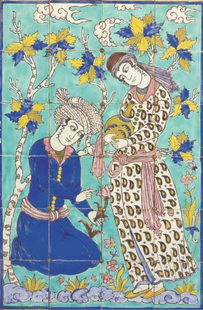 A Qajar tiled panel, 19th cent