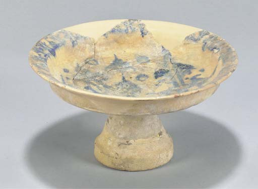 A Syrian blue and cream glazed