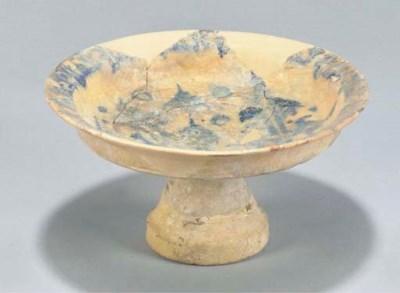 A Syrian blue and cream glazed