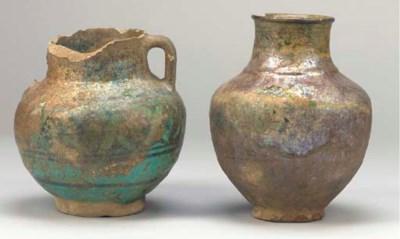 Two turquoise glazed pottery v
