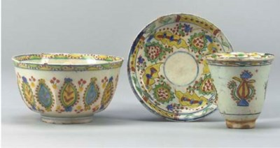 A Kutahya cup and saucer, Turk