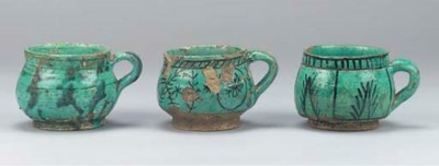 SIX QAJAR TURQUOISE GLAZED POT
