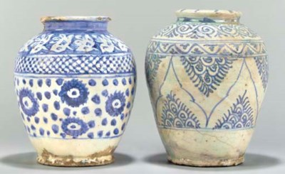 Two blue and white pottery jar