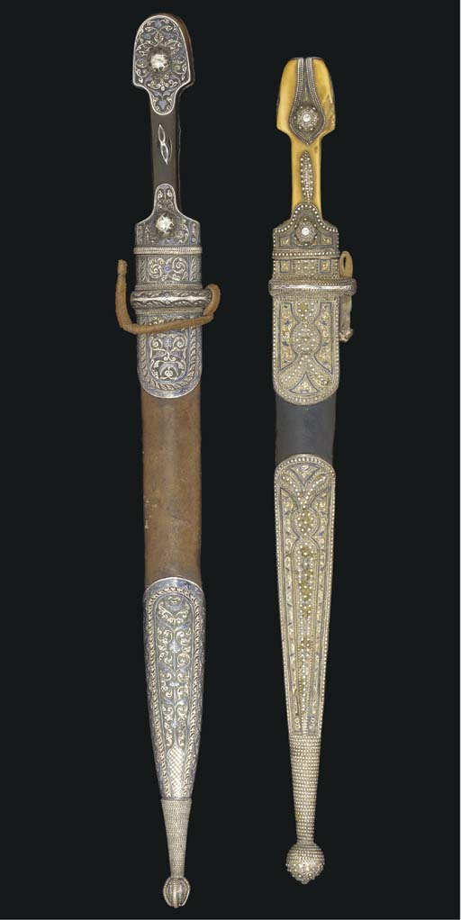 TWO SILVER MOUNTED CAUCASIAN K