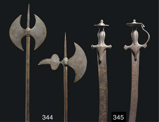 Two Qajar steel axes, Iran, 19