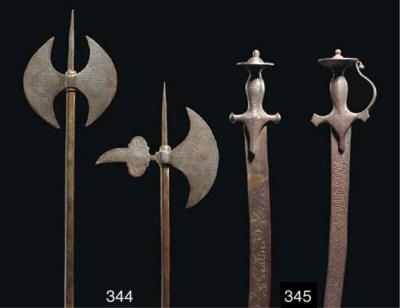 Two Qajar steel axes, Iran, 19