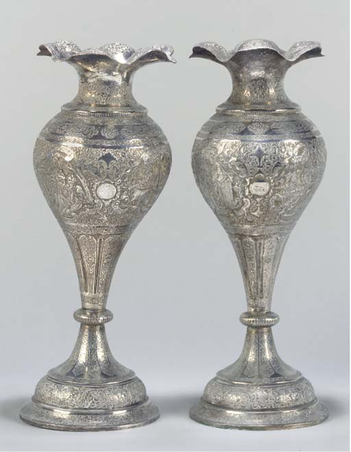 A PAIR OF ISFAHAN SILVER VASES