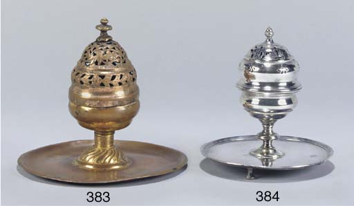 AN OTTOMAN SILVER CENSER AND C