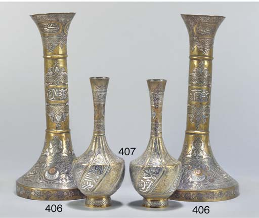 A pair of Cairoware vases, 19t