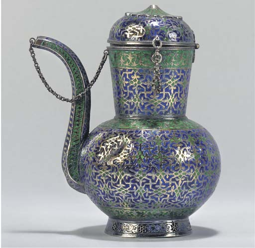 A SILVER AND ENAMEL EWER AND C