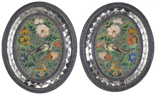 A PAIR OF LATE QAJAR REVERSE G