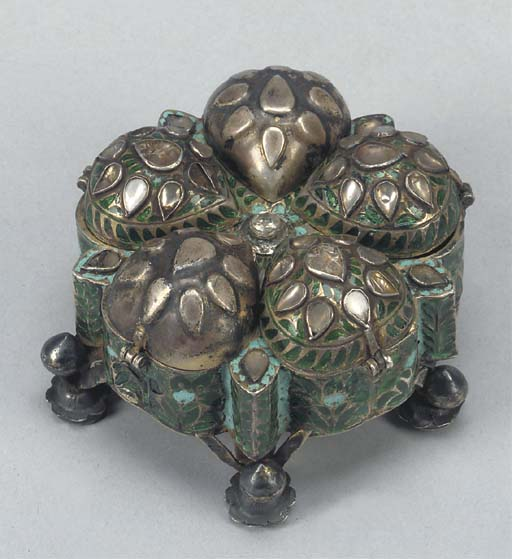 A SILVER AND ENAMELLED SPICE B