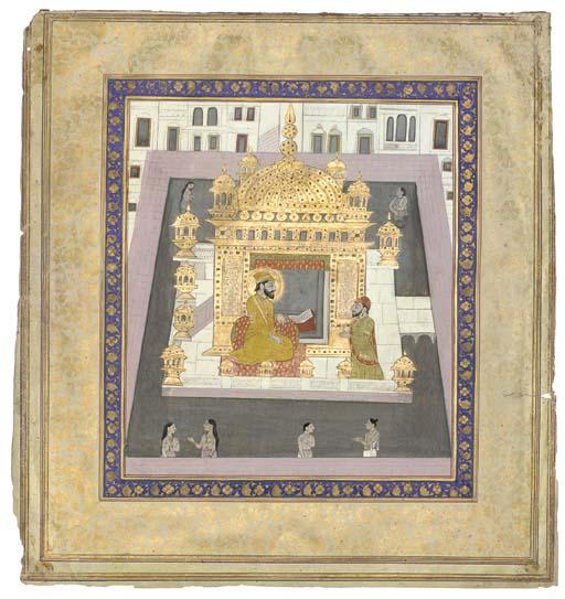 A SIKH GURU SEATED IN THE GOLD