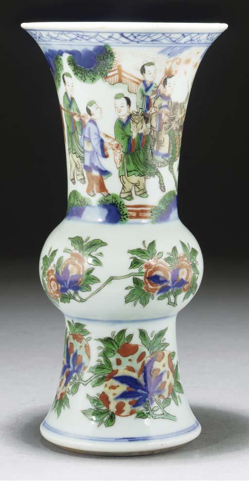 A famille verte gu vase, 19th