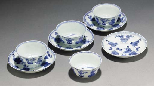 Four Chinese blue and white te