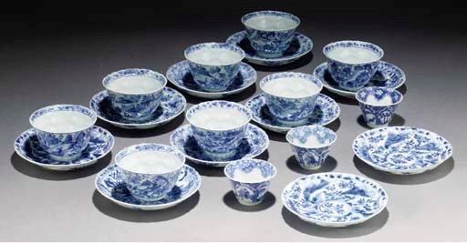 A set of eight Chinese blue an