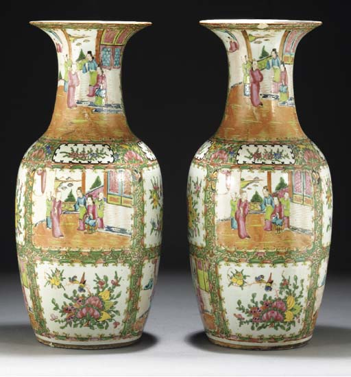 Pair of Cantonese baluster vas