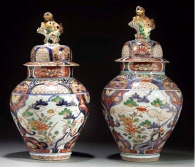 A pair of Imari baluster jars