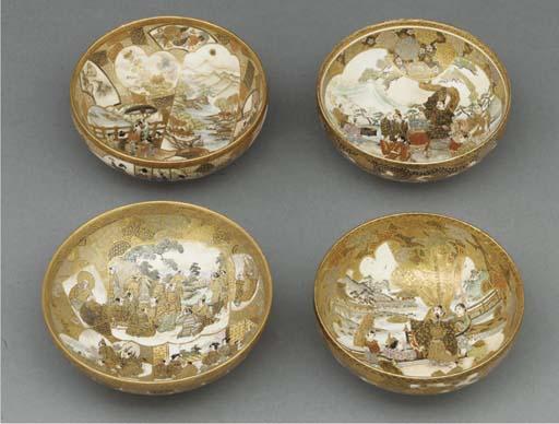 Four similar Satsuma bowls, 19