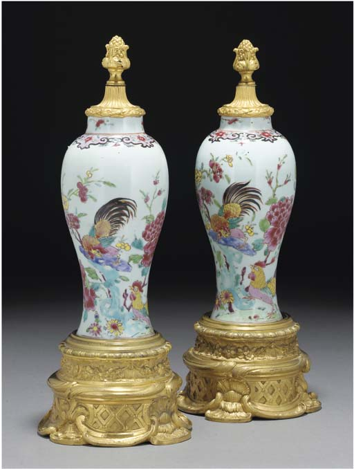 A pair of famille rose mounted