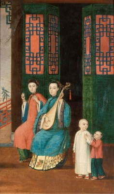 A Chinese export oil painting,