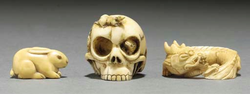 Three Japanese ivory netsuke,