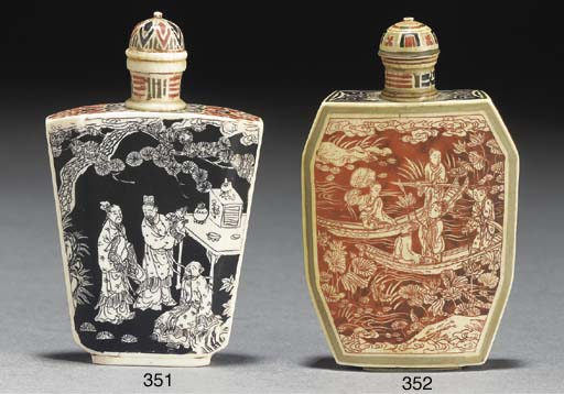 A Japanese stained ivory snuff