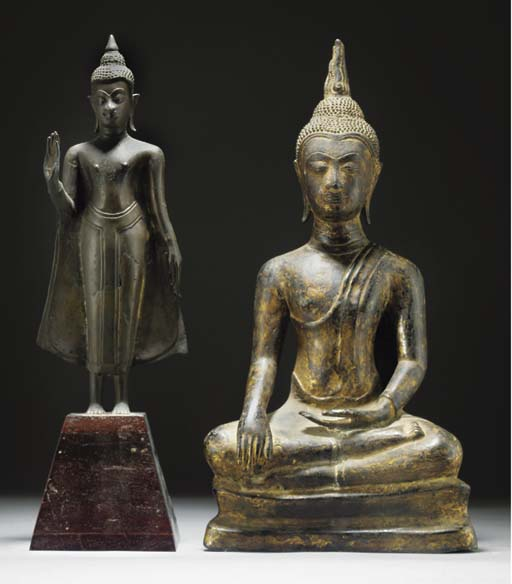 A Burmese gilt lacquered bronz