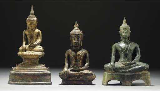 Two Burmese bronze models of B