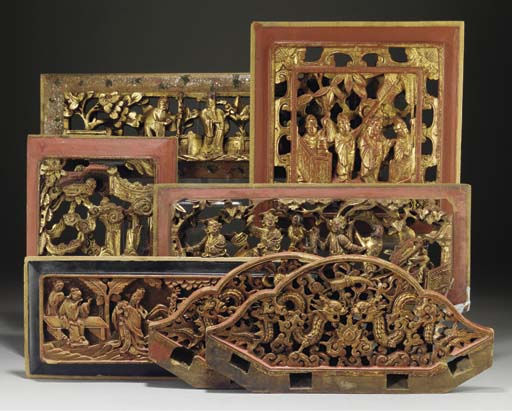 Seven Chinese Part Lacquered Carved And Pierced Wood Panels