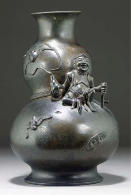 A Chinese lacquered bronze dou